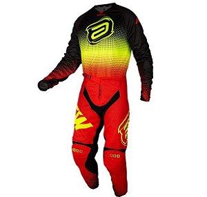 Conjunto Motocross Cross ASW Mandala 21 Vermelho Amarelo