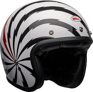 Capacete Bell Custom 500 Vertigo Branco Preto Vermelho
