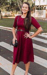 Vestido Midi Marsala com listras