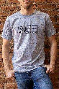 Camiseta Masculina Netflix - Eat, Sleep and Watch