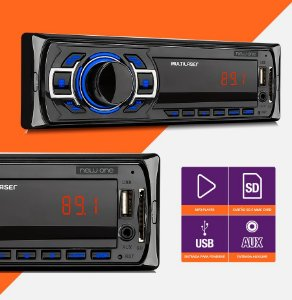 MULTILASER RADIO AUTOMOTIVO NEW ONE BT 50W USB/SD/AUX