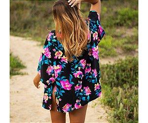 Saída de Praia Kimono Floral