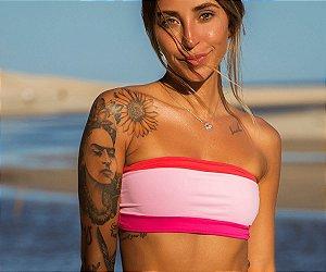 Top de Biquíni Tomara que Caia Sem Bojo - Vermelho - Rosa Chiclé - Pink - Peça Avulsa