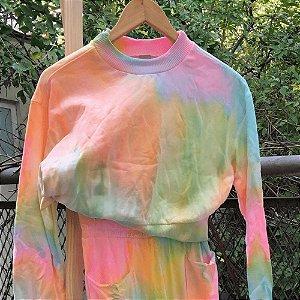 Blusa de Moletom Tie Dye Marmorizado Candy Color