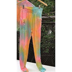 Calça de Moletom Tie Dye Marmorizado Candy Color
