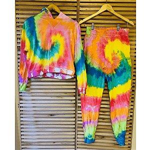 Conjunto Comfy de Moletom em Tie Dye Rainbow