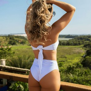Biquíni Cintura Alta Hot Pants - Branco Canelado - Bottom