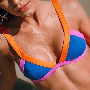 Biquíni Top Triângulo Tira Larga Sem Bojo e Regulagens - Mix de Cores Azul Bic - Laranja - Pink - Top Vic