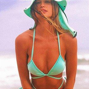 Top de Biquíni Cortininha Fixo com com Bojo e Tira Removível - Verde Tiffany - Top Gisele