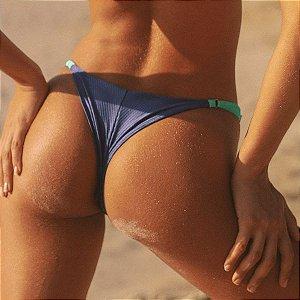 Biquíni Calcinha Com Regulagem Canelado - Mix de Cores Azul Jeans e Verde - Bottom Sara