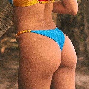 Biquíni Calcinha Com Regulagem Canelado - Mix de Cores Azul Enseada e Amarelo - Bottom Sara
