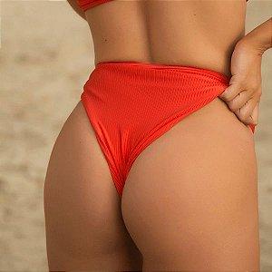 Biquíni Calcinha Cintura Alta Asa Delta Vermelho Canelado - Hot Pants Cloe