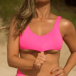 Biquíni Top Regata Sem Bojo Rosa Neon - Top Tereza