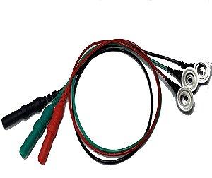 Trio terminal Eletrodos de EMG PE Highlander Cabo 25cm Verde Vermelho Preto