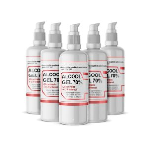 Álcool Gel 70% KIT 5 X 200ml Pump com D-Pantenol