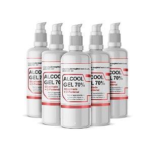 Álcool Gel 70% KIT 5 X 200ml Pump com D-Pantenol