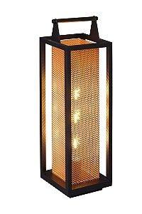 Luminária de Chão - Modelo Lampião Grande - Cor: Preto / Cobre