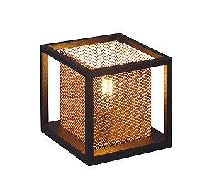 Luminária de Mesa Aparador - Modelo Lampião - Cor: Preto/Cobre