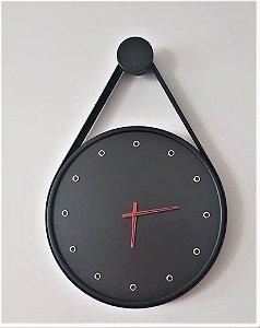 Relógio Adnet Redondo Com Alça Em Couro 40 Cm - Preto / Preto