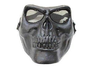 Máscara Caveira Preta com Tela de Aço Ocular