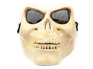 Máscara Caveira Bege com Tela de Aço Ocular