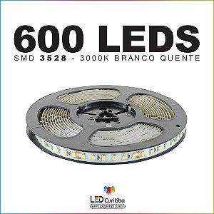 Fita de Led SMD 3528 600leds - 120leds/m 12v 3000k branco quente IP20