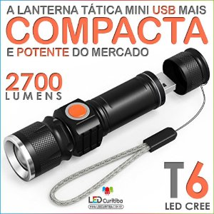 Lanterna Led Tática Carrega Usb 5v Led T6 Cree Super Forte
