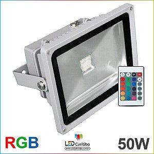 Holofote Refletor de Led RGB 50W Cob bivolt IP65 com Controle 16 teclas