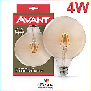 Lampada de Filamento de Led Retrô G95 Globo 2200k 4w Ambar bivolt Avant