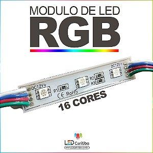 Módulo de 3 Led RGB Para Letra Caixa Smd 5050 12v Ip65 Externo