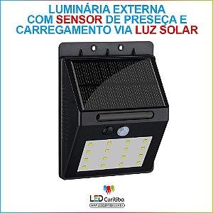 Luminária Externa Com Sensor De Presença E Bateria Solar 5w
