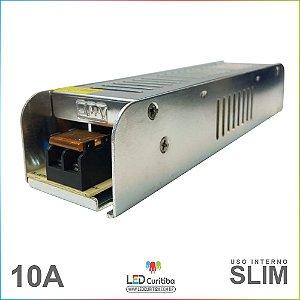 Fonte Chaveada Slim 10a 12v Bivolt Para Fitas De Led Cameras CFTV  para Sancas de Gesso e Drywall