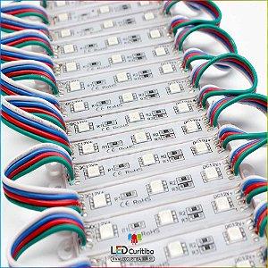 Kit 20 Módulo de 3 Led RGB Para Letra Caixa Smd 5050 12v Ip65 Externo