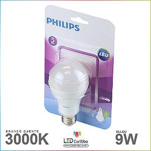 Lampada de Led Bulbo 9w Philips 3000K Branco Quente Bivolt E27
