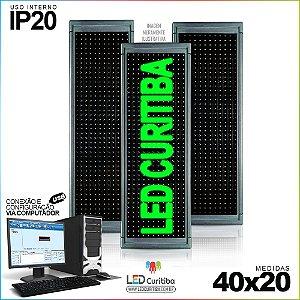 Painel Letreiro de Led 40x20 Verde Interno Conexão via USB IP20