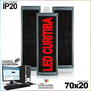 Painel Letreiro de Led 70x20 Vermelho Interno Conexão via USB IP20