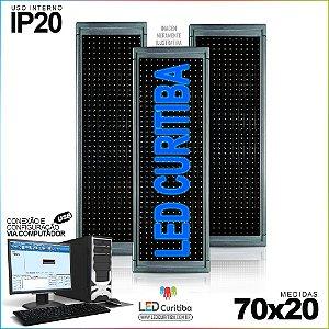 Painel Letreiro de Led 70x20 Azul Interno Conexão via USB IP20