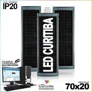 Painel Letreiro de Led 70x20 Branco Interno Conexão via USB IP20