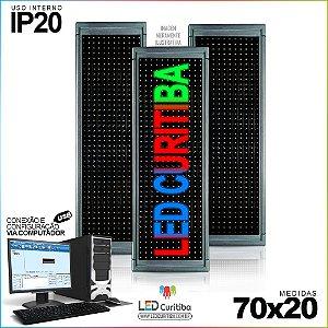 Painel Letreiro de Led 70x20 Multi-Color Interno Conexão via USB IP20