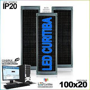 Painel Letreiro de Led 100x20 Azul Interno Conexão via USB IP20