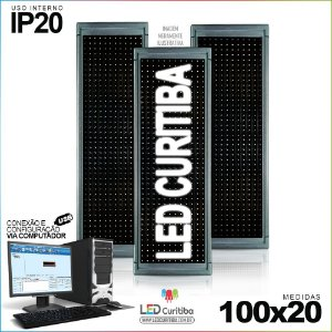 Painel Letreiro de Led 100x20 Branco Interno Conexão via USB IP20