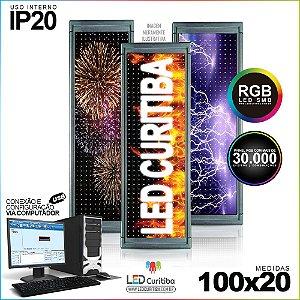 Painel Letreiro de Led 100x20 Pastilha RGB Interno Conexão via USB IP20
