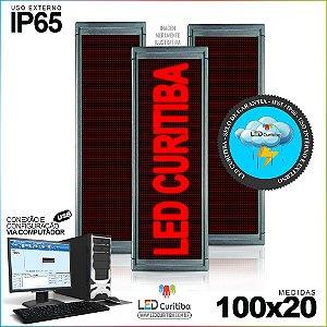 Painel Letreiro de Led 100x20 Vermelho Interno / Externo Conexão via USB IP65