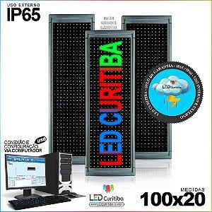 Painel Letreiro de Led 100x20 Multi-Color Interno / Externo Conexão via USB IP65