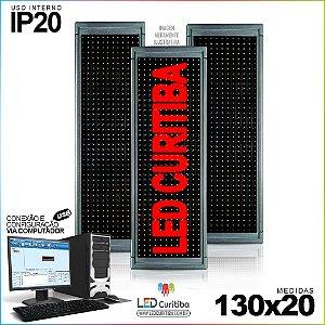 Painel Letreiro de Led 130x20 Vermelho Interno Conexão via USB IP20