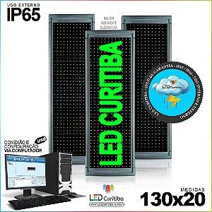 Painel Letreiro de Led 130x20 Verde Interno / Externo Conexão via USB IP65
