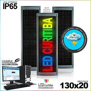 Painel Letreiro de Led 130x20 Multi-Color Interno / Externo Conexão via USB IP65