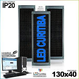 Painel Letreiro de Led 130x40 Azul Interno Conexão via USB IP20