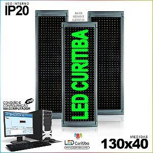 Painel Letreiro de Led 130x40 Verde Interno Conexão via USB IP20