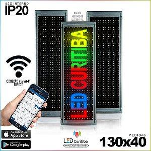 Painel Letreiro de Led 130x40 Multi-Color Interno Conexão via Wi-Fi IP20